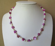 Knotted Freshwater pearl and shiny pink shell beaded necklace N744