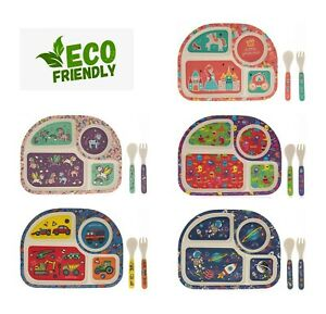 Childrens Dining Sets - Eco Friendly Bamboo Unicorn Space Cars Monster Princess