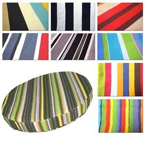 Round Box Shape Cover*Striped Cotton Canvas Chair Seat Cushion Case Custom*AK1