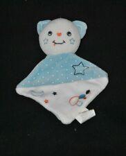 Peluche doudou ours chat plat SIPLEC LECLERC bleu blanc étoile champignon TTBE