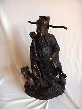 Vintage Bronze Art Sculpture Chinese Man Dragon Figurine Statue NICE