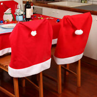 Xmas Chair Back Cover Santa Clause Red Hat Christmas Dinner Table Party Decor