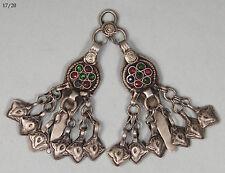 antike orient nomaden schmuck Silber Anhänger afghan Pendant necklace 17/20
