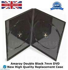 200 double black amaray 7 mm dvd haute qualité détient 2 disques de remplacement neuf case