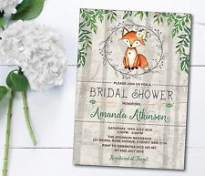 Rustic Boho Fox Bridal Shower Invitation Woodland Forest Baby Invite Hens Night
