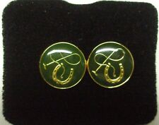Horse Shoe And Whip Cuff Links Green Enamel With Gold Plate Detail