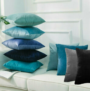 Velvet European Pillowcase Continental Cushion Cover Teal Blue Grey Black White