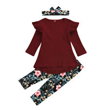 3-4T Toddler Baby Girl Outfits Tops+Floral Pants+Headband Kids 3/Pcs Clothes Set