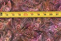 By 1/2 Yd, Orange & Pink on Brown & Green Cotton Batik, Keepsake Quilting N6156