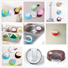 Bathroom Shower Accessory Suction Cup Soap Toothbrush Box Dish Holder Blue Color