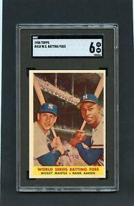 * 1958 Topps W.S. Batting Foes w/ Mantle & Aaron #418 SGC 6 (EX-MT) *BBCI*