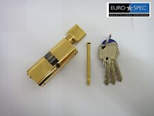EUROSPEC MP10 OVAL THUMBTURN CYLINDER 40/40mm (80mm)  6PIN POLISHED BRASS - NEW