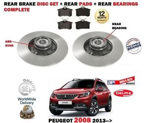 FOR PEUGEOT 2008  2013--> NEW REAR ABS BRAKE DISCS SET + PADS + BEARINGS KIT