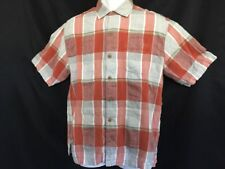 Tommy Bahama M Mens Shirt Plaid Short Sleeve Silk Blend Button Front (230)