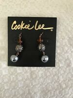 NWT Cookie Lee Genuine Crystal Glass Long Pierced Copper Tone Earrings 1 7/8'