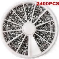 2400PCS 1.5mm 3D Rhinestones Glitter Diamond Gems Nail Art Tips Decoration Wheel