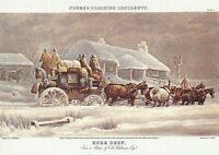 Art Postcard Fore's Coaching Incident, Knee Deep, English Mail Coach in Snow 42S