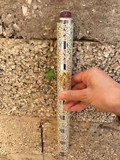 Sterling Silver Plated Filigree Mezuzah Case Jewish Yemenite Art Kosher Mezuza