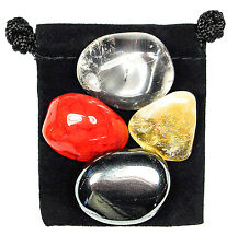 CONCENTRATION Tumbled Crystal Healing Set  = 4 Stones + Pouch + Description Card