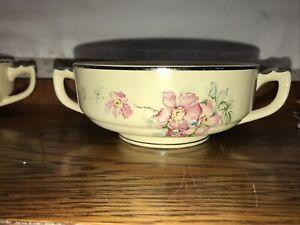 """8 Vintage Briar Rose 4.75"""" Handled Soup Bowls RARE"""