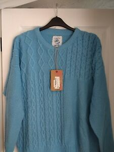 MANTARAY TURQUOISE BLUE COTTON MIX CABLE JUMPER SWEATER. UK 20, EUR 46-48. BNWT