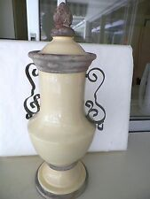 19'' SOFT YELLOW URN RUSTIC METAL HANDELS