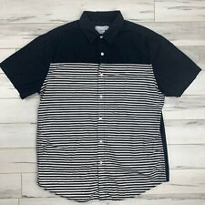 Cactus Brand Large Casual Button Down Short Sleeve half striped Shirt