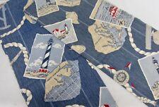 """2 Unlined Cotton Panels Kitchen Bath NAUTICAL LIGHTHOUSE Vintage Maps 36""""L"""