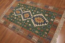 4' x 6' Hand Woven Reversible Southwestern Turkish Kilim wool area rug 4x6 Green