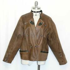 LEATHER ~ BROWN Austria Women Winter Sport Hunting Bomber Coat JACKET Eu 44 10 M