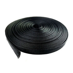 """100 Feet 3/4"""" Expandable Wire Cable Sleeving Sheathing Braided Loom Tubing Black"""