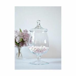 Handmade Footed Glass Jar Cookie Sweet Bonbon Storage Jar Bowl With Lid 30 cm