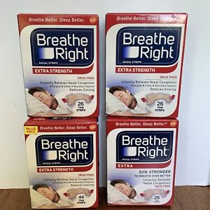 Lot of 4 BREATHE RIGHT Nasal Strips EXTRA STRENGTH Tan Strips 122 Total Strips