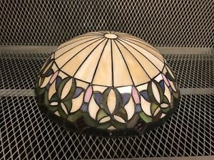"""12"""" TIFFANY STYLE ~ Floral Stained Glass Ceiling Lamp Shade ~ No Cracks See Pics"""