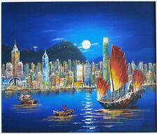 "Original oil painting ""Hong Kong Skyline"" 26""×29.5"""