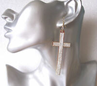 Big and Fab Lightweight Sparkly CROSS Long Dangly Earrings - Clip-on Option