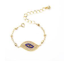 Delicate Pave Blue Sapphire Crystal Eye Bracelet Yellow Gold Chain For Men Women