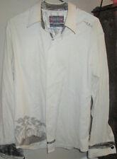 English Laundry Medium Asian Inspired Embroidered Shirt White Paisley  (F)
