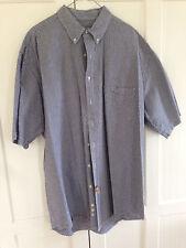 vintage Eddie Bauer navy Seersucker Short Sleeve Button summer Shirt Tall XL