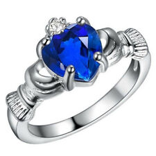 Fashion 925 Silver Blue Sapphire Crown Wedding Engagement Claddagh Ring Size 5