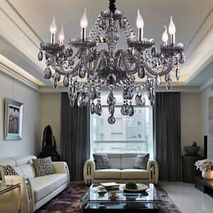 SMOKY Genuine K9 Crystal Chandelier 2,6,8,10,12,15,18 Arms Pendant Light Candle