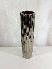 """Silver Chrome Effect Ceramic Vase 12"""" Bark Water Wave Pattern Floral Holiday"""