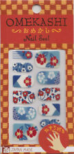 Japanese Nail Art Stickers Set 12 Mini File Made in Japan Blue Red Floral Design