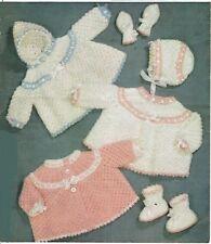 Baby Knitting pattern DK 0-3 3-6 months Romany Christmas matinee coat set girl