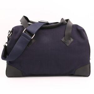 Club Monaco Navy Cotton & Leather Trim Travel Duffel Bag W Removable Strap  NWOT