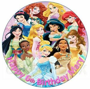 Disney Princess Edible Birthday Cake Topper With Your Personalised Message