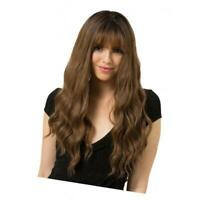"24"" Women Bangs Long Light Brown Wavy Curly Hair Cosplay Party Full Wig Wigs"