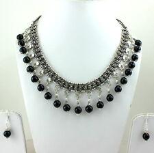 Necklace earrings natural black onyx 10 mm round beaded gemstone handmade 112 gm