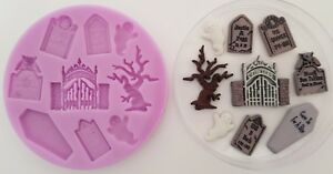 GRAVEYARD CEMETERY HALLOWEEN SILICONE MOULD FOR CAKE TOPPERS CHOCOLATE CLAY ETC