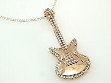 Silberkette 925 mit Gitarren Anhänger rose`vergoldet Rockys Musikerschmuck